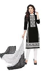 RK Fashion Womens Cotton Un-Stitched Salwar Suit Dupatta Material (RAJGURU-PAHELI-9265-Black-Free Size )