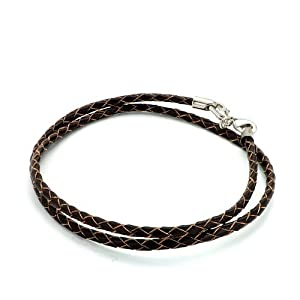 Pugster Brown Leather Woven Wrist Chain Bracelet Fits Pandora Charm Biagi Chamilia Bead