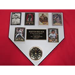 Boston Red Sox ALL TIME GREATS 6 Card Collector HOME PLATE Clock Plaque EXCLUSIVE... by J & C Baseball Clubhouse