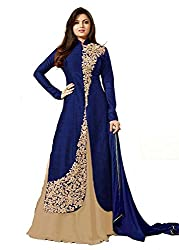 Pal Export Women's Georgette Semi Stitched Dress Material (Pack of 6) (BL-Blue1_Blue_Free Size)