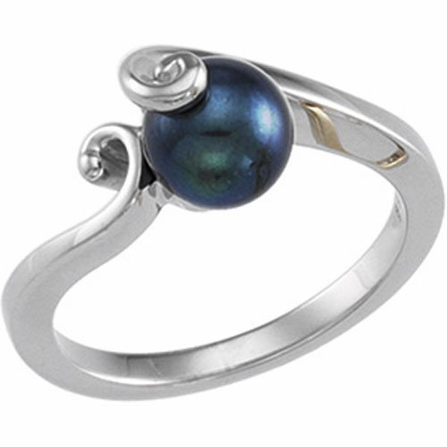 14Kt White Gold Twist Cultured Black Pearl Ring