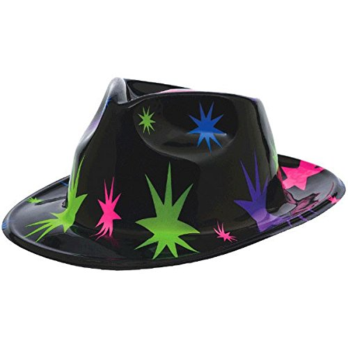 Colourful Star Burst Plastic Fedora Hat