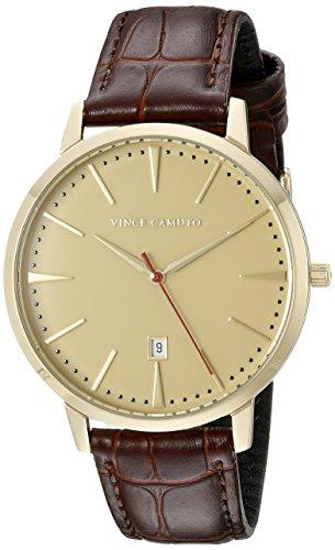 Vince Camuto VC/1073GDGP - Reloj unisex, correa de cuero color marrón