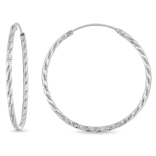 Sterling Silver Large Round Hoop Earrings