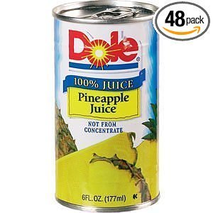Dole Pineapple Juice 6 Ounce Cans Pack of 48