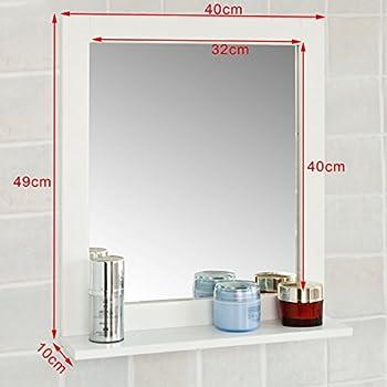 Haotian Wall Mounted Bathroom Mirror with Shelf,Bathroom Vanity Set, White Under Sink Bathroom Storage Cabinet with Shelf,Linen Tower Bath Cabinet (FRG129-W)