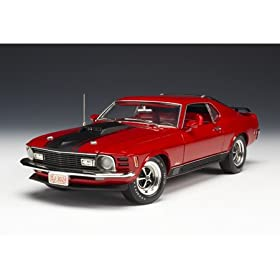 diecast car: 1/18 '70 Mustang Mach 1, Candy Apple Red diecast model car
