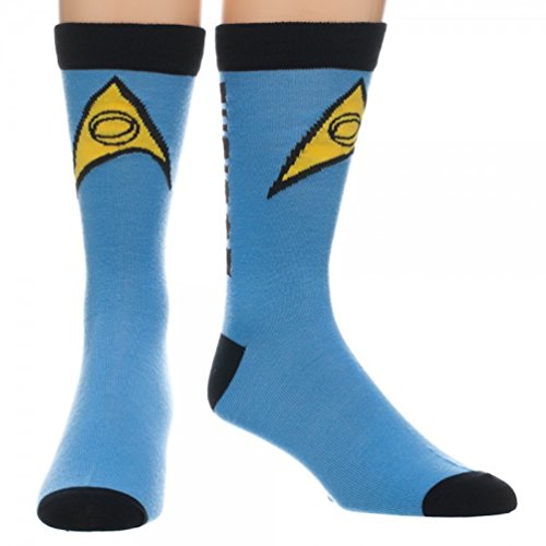 Star Trek Spock Blue Science Logical Logo Crew Socks Costume Accessory