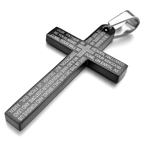 Men's Stainless Steel Pendant Necklace Black Cross Bible Lords Prayer Polished -with 23 inch Chain from INBLUE Jewelry