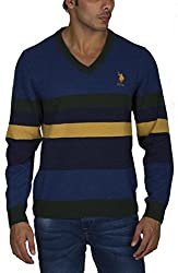US POLO ASSOCIATION Men's Poly Cotton Sweater (USSW0395_Multi-Coloured_Large)