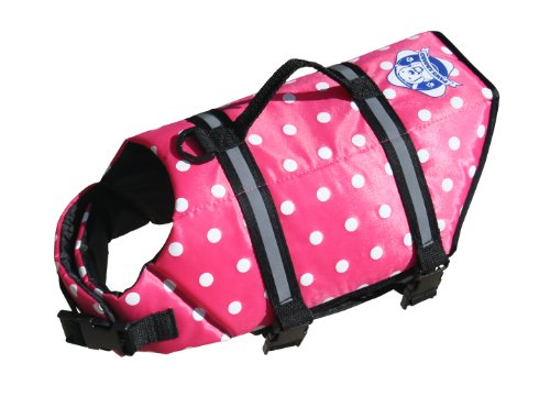 Paws Aboard Small Designer Doggy Life Jacket, Pink Polka Dot