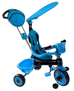 My-Trike MT-40 3-in-1 Canopy Stroller Tricycle with Adjustable Parent Steering Handle, Blue