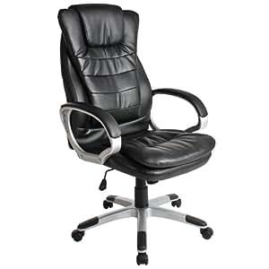 Chaise fauteuil siège de bureau hauteur réglable simili cuir avec double rembourrage.