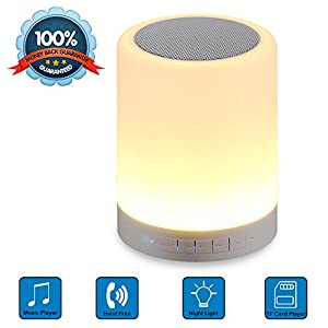 Wireless Bluetooth Speakers, Grandbeing® Portable Multifunctional Bluetooth Speaker with Smart Touch LED Mood Lamp, Muisc Player / Hands-free Bluetooth Speakerphone, TF card / AUX supported, White