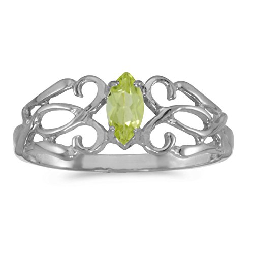 0.21 Carat Ctw 14K Gold Marquise Green Peridot Solitaire Filigree Design Antique Engagement Fashion Ring - White-Gold, Size 6.5