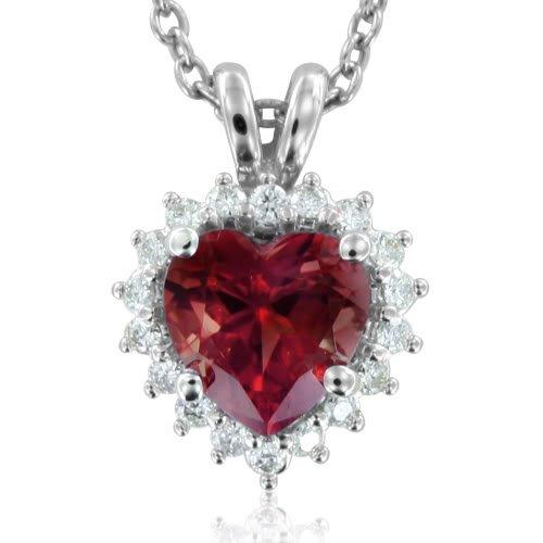 Heart Shaped Garnet and Diamond Necklace Pendant