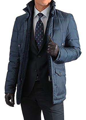 メンズ スタンドカラー ダウンジャケット ネイビー Mサイズ