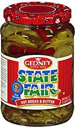 Gedney Pickles State Fair Hot Bread & Butter 24 OZ (Pack of 12)