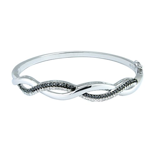 Silver Black and White Diamond Bangle Bracelet