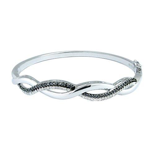 Silver Black and White Diamond Bangle Bracelet
