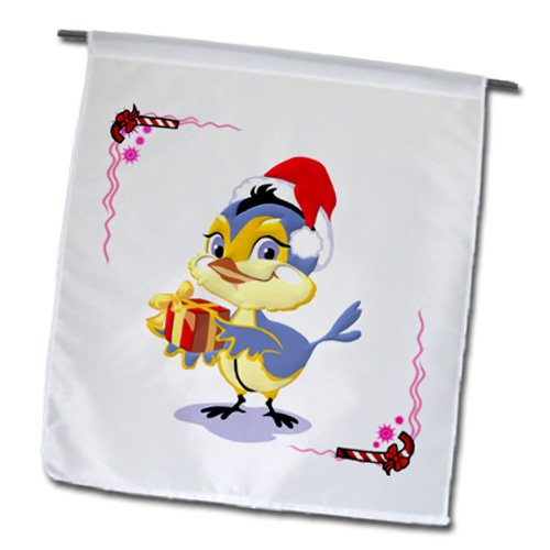 Edmond Hogge Jr Christmas - Christmas Bluebird With Gift and Candy Cane Background - 18 x 27 inch Garden Flag (fl_61086_2)