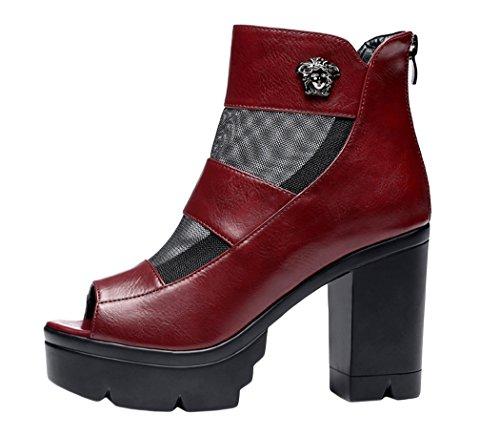Guciheaven 2015 New Style Fashion PU Leather Mesh Fish Head Platform Roung High Heels Shoes(7 B(M)US, Red)