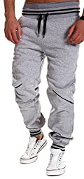 Men\'s Casual Harem Baggy Hiphop Dance Jogger Sport Sweatpants Trousers(Gray,XXL)