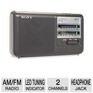 """Sony Portable AM/FM Radio with Built-in 3 5/8"""" Clear Sound Speaker, High Power Output, LED Tuning Indicator, Built-In Carrying Handle, Earphone Jack, Operates On Batteries Or AC Adapter,Black Finish"""