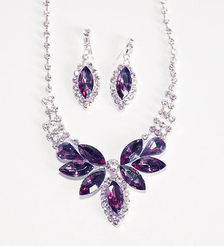 Eggplant Butterfly Crystal Rhinestone Necklace