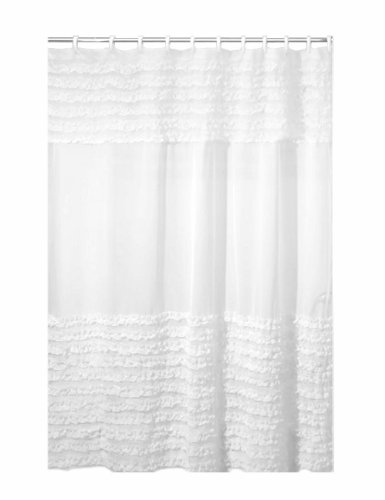 Creative Bath Products Ruffles Shower Curtain, 72W x 72H Inch (White Cotton Shower Curtain compare prices)