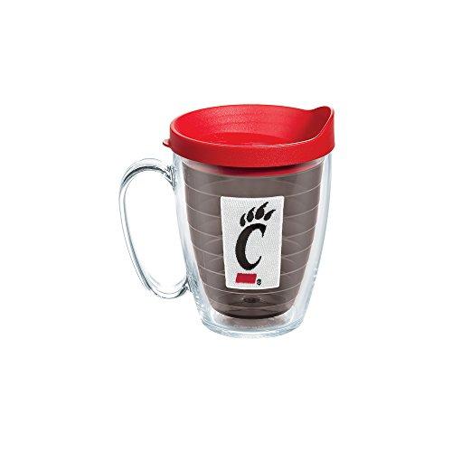 Tervis 1099280 Cincinnati University Emblem Individual Mug with Red lid, 16 oz, Quartz