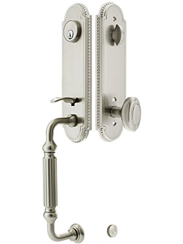 """Orleans Style Tubular Handleset In Satin Nickel With Oval Beaded Knobs And 2 3/8"""" Backset. Old Door Handles. front-734021"""