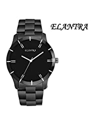 Elantra Black Dial Black Metal Chain Watch
