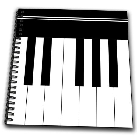 3Drose Db_112827_1 Piano Keys-Black And White Keyboard Musical Design-Pianist Music Player And Musician Gifts Drawing Book, 8 By 8-Inch