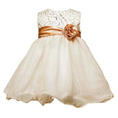 Size-12M RRE-50301H GOLD GLITTER MESH OVERLAY WIRE HEM Special Occasion Wedding Flower Girl Holiday Pageant Party Dress,H150301 Rare Editions BABY/INFANT