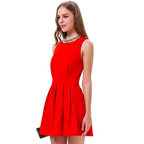 Sannysis New Women Sexy Red Slim Bodycon Party Mini Dress (S)