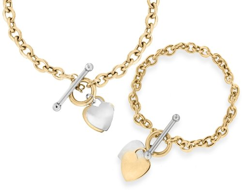 9ct Two-Colour Gold T-Bar Heart Necklace (40cm/16