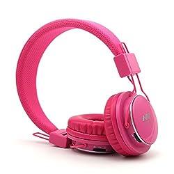 Granvela A809 Foldable Headphone Headset New Fashion Brand Music Player Wireless Handsfree Headset Headphones Earphone,Support TF Card FM Radio Monitor Portable Audio PC --Pink