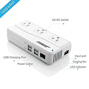 [Upgraded Version] BESTEK 200W Power Inverter 3 AC Outlets with 4.2A 4 USB Charging Ports produced by BESTEK