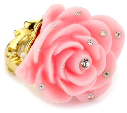 "Betsey Johnson ""Betsey's Dollhouse"" Pink Flower Ring, Size 7.5"