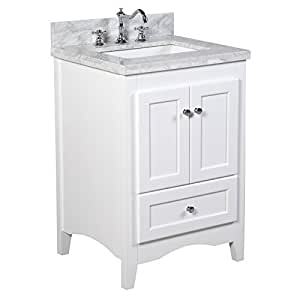 abbey 24 inch white bathroom vanity carrara white includes a soft