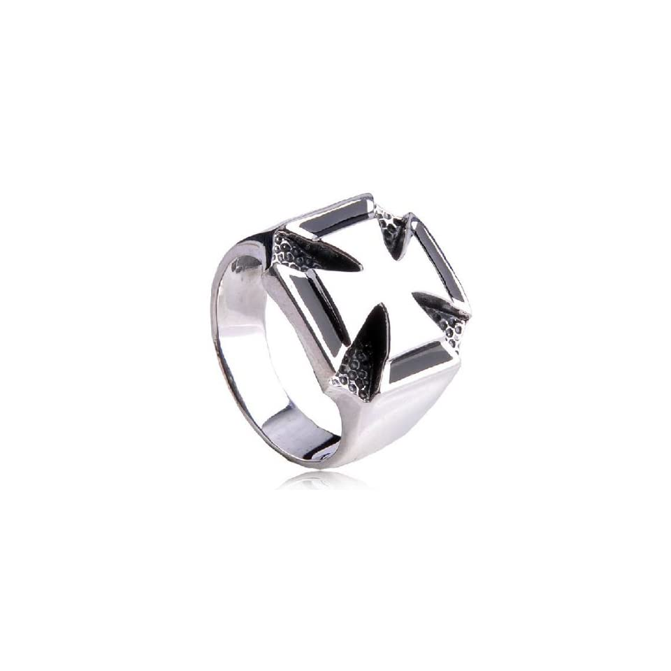 Mens Fashion Style Iron Cross Ring .925 Silver Fine