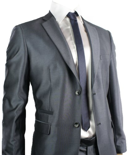 Mens Slim Fit Suit Shiny Navy Blue 2 Button Black Piping Office or Party Suit UK Stock