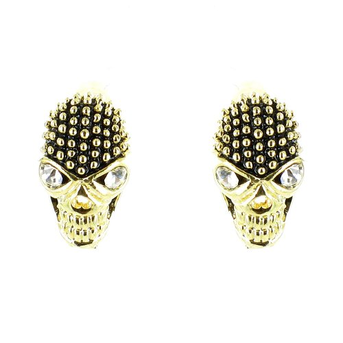 Black And Clear Crystal On Gold Plated Small Skull Earrings front-587180