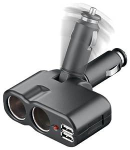 Goobay 2-fach Verteiler für 12-Volt Zigarettenanzünder mit 2x USB Buchsen by Goobay