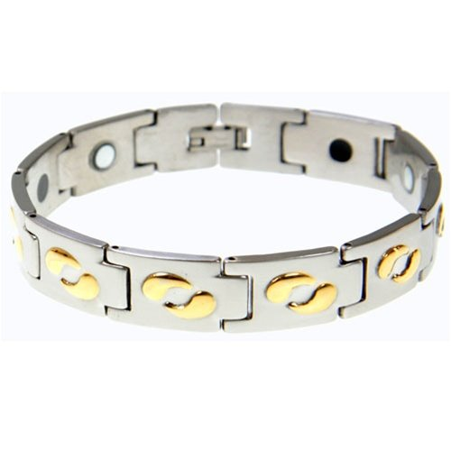 316L Stainless Steel Magnetic Bracelet with Gold IP Plating – length: 8.5″ – Width: 15mm