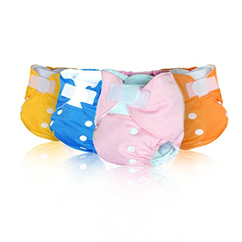 Baby Waterproof Newborn Solid One Size Velcro Cloth Pocket Diapers Package, 4 Diapers