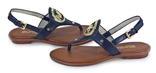 Michael Kors Aubrey Charm Leather Thong Sandal, Navy Blue, Size 9M front-804514