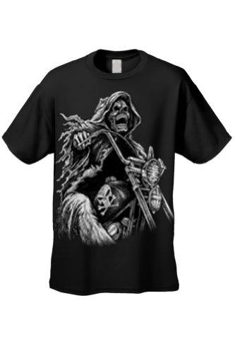 Men's/Unisex OVERSIZED Biker Grim Reaper Rider BLACK Short Sleeve T-shirt (XXL)