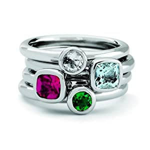 Size 8 -Gemstone Chic Set of Four Stackable Rings Gift Pack